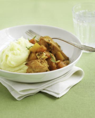 Kana-juurespata ja perunamuusia