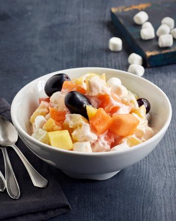 Vaahtokarkki-hedelmäsalaatti